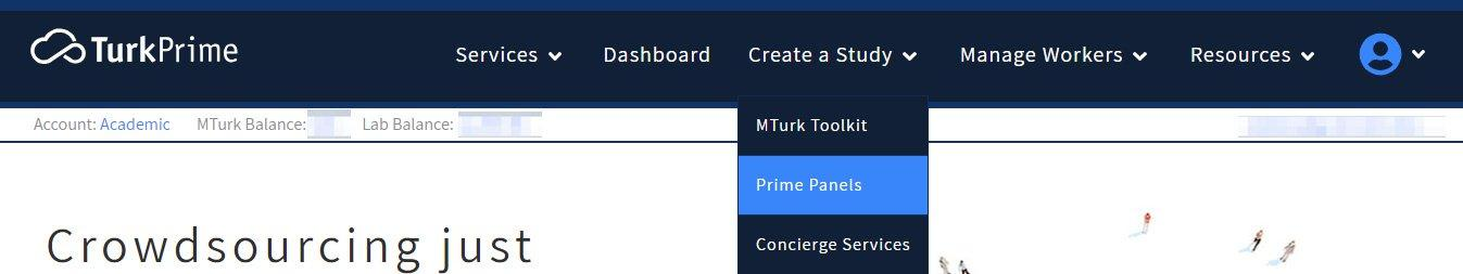 Access Prime Panels by going to Create a Study Menu on TurkPrime